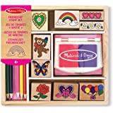 Melissa & Doug 11632 Wooden Stamp Set, Friendship - 9 Stamps, 5 Colored Pencils and 2 Color Stamp Pad
