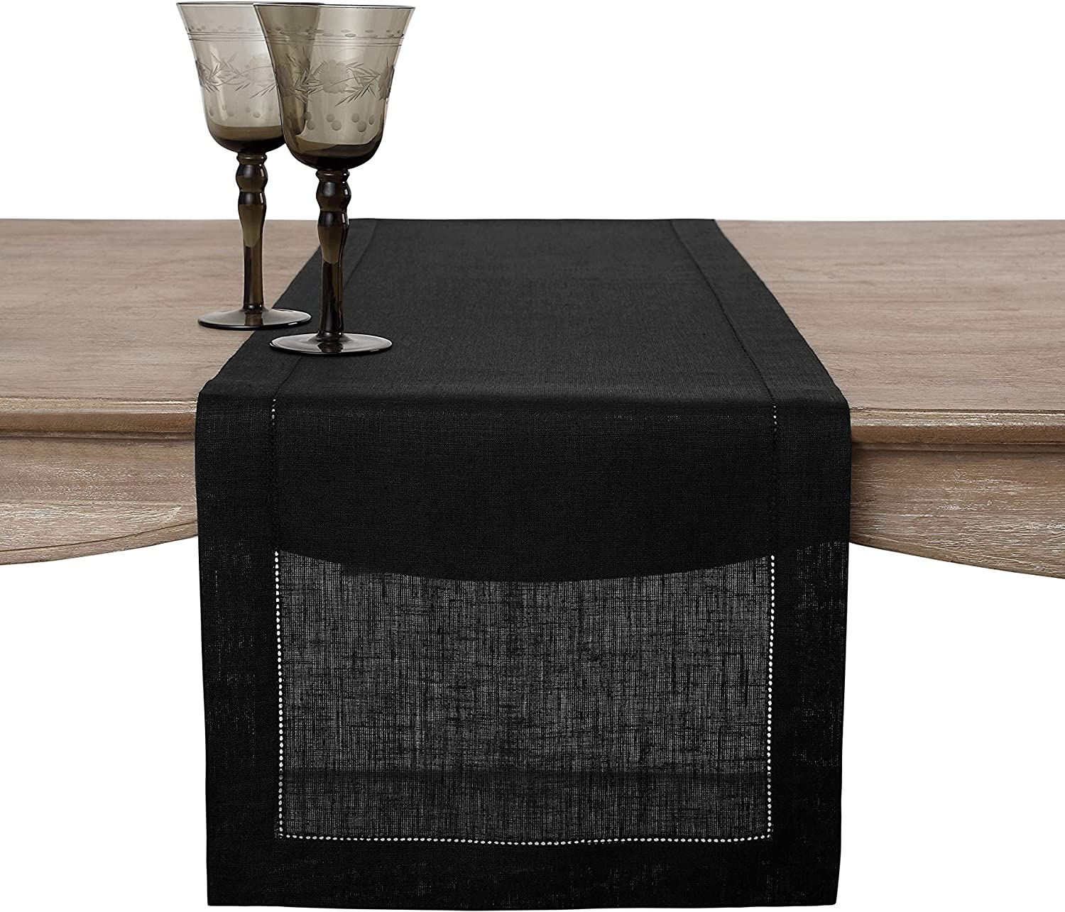 Hemstitched Runner Solino Home 100/% Pure Linen Table Runner 16 x 72 Inch Black European Flax Natural Fabric