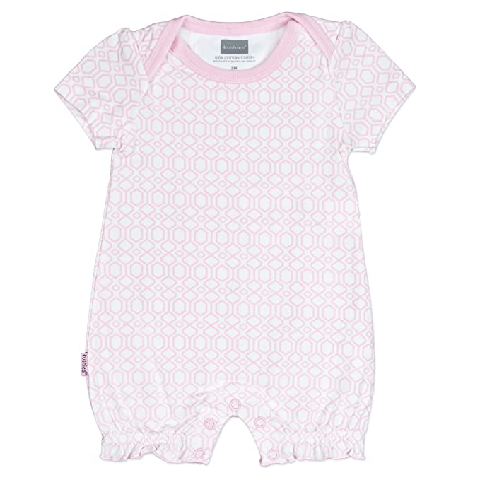 Kushies Baby Girls Geo Print One-Piece Short Sleeve Romper Light Pink - 6 Mths