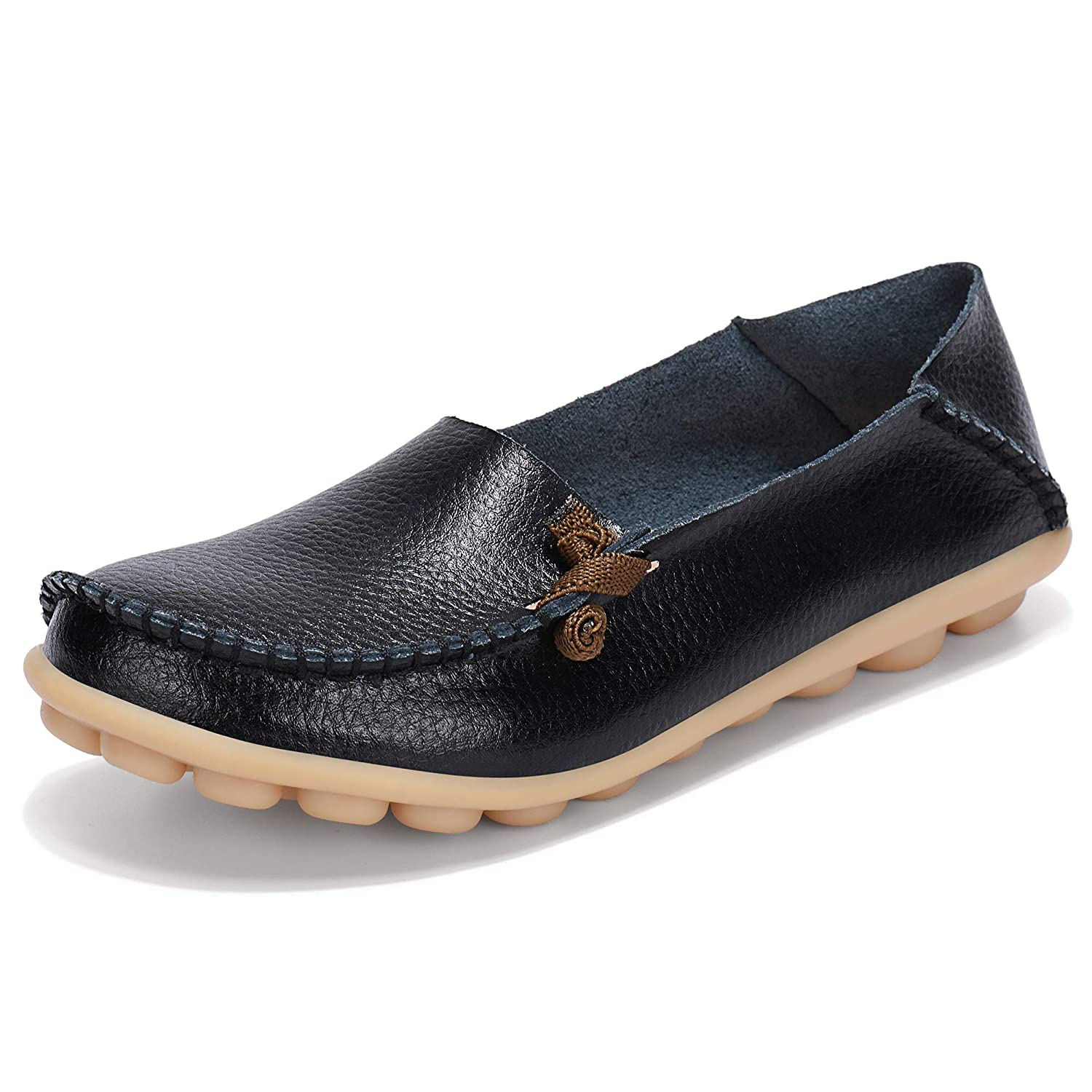 cdb6ac23801e8 Labato Women's Leather Loafers Breathable Slip on Driving Shoes Casual  Comfort Walking Flat Shoes