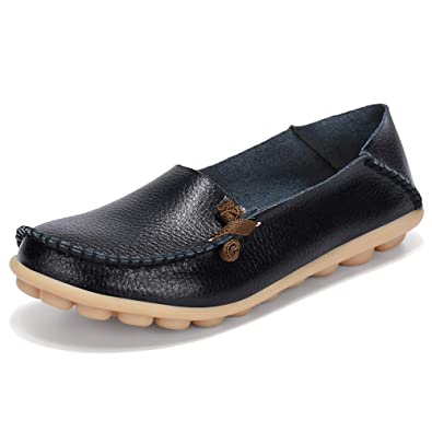 03743be3a1099 Labato Women's Leather Loafers Breathable Slip on Driving Shoes Casual  Comfort Walking Flat Shoes