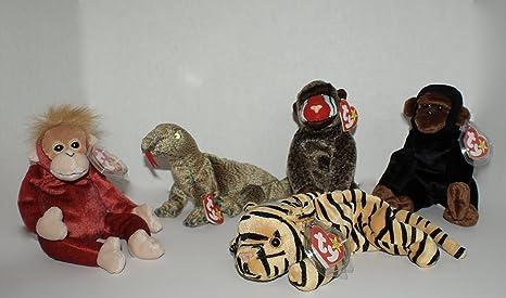 af5eb1fe5eb TY Beanie Babies Jungle Safari Collection. Set of 5. Featuring Schweetheart  the Orangutan