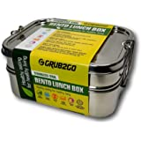 Stainless Steel Lunch Box by GRUB2GO + FREE BENTO IDEAS GUIDE | Premium 3-Layer 1600 ML Metal Bento Food Container