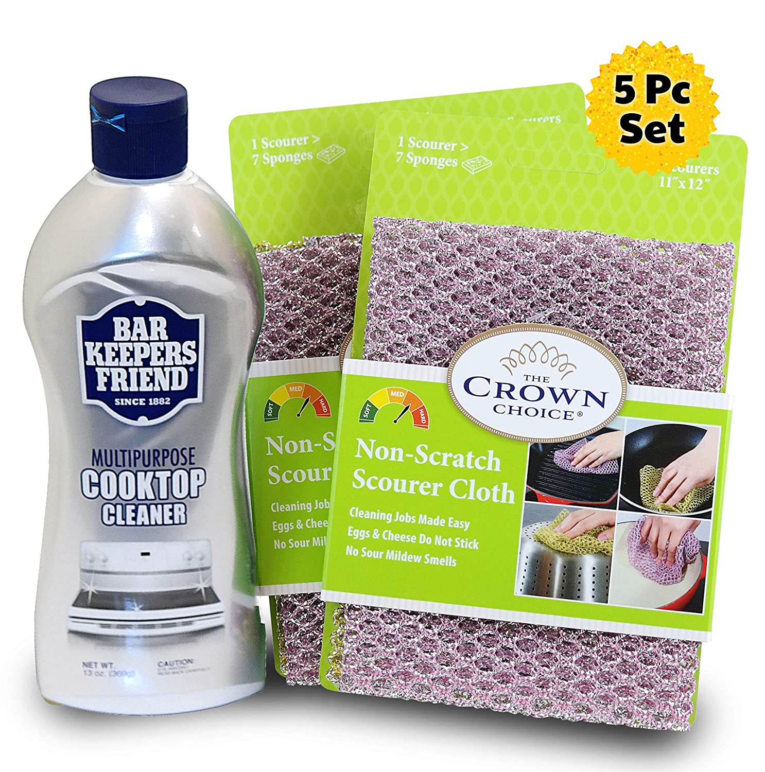 BAR KEEPERS FRIEND Cooktop Cleaner (13 OZ) and TWO Non Scratch Scouring Dishcloth | Glass Ceramic Stovetop and Oven Cleaner