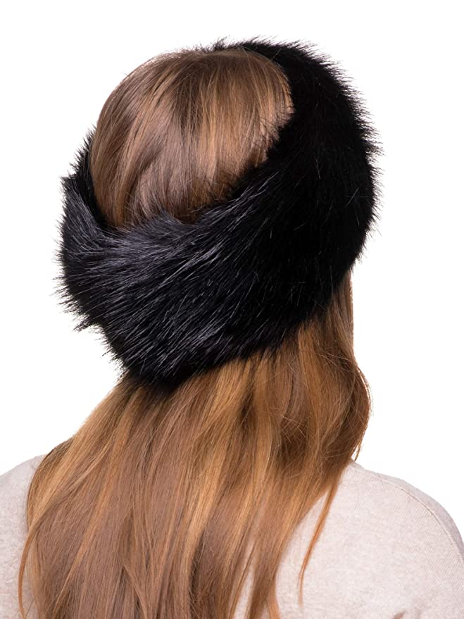 825b136f6a1 Futrzane Winter Faux Fur Headband for Women and Girls (Black) at Amazon  Women s Clothing store  Cold Weather Headbands