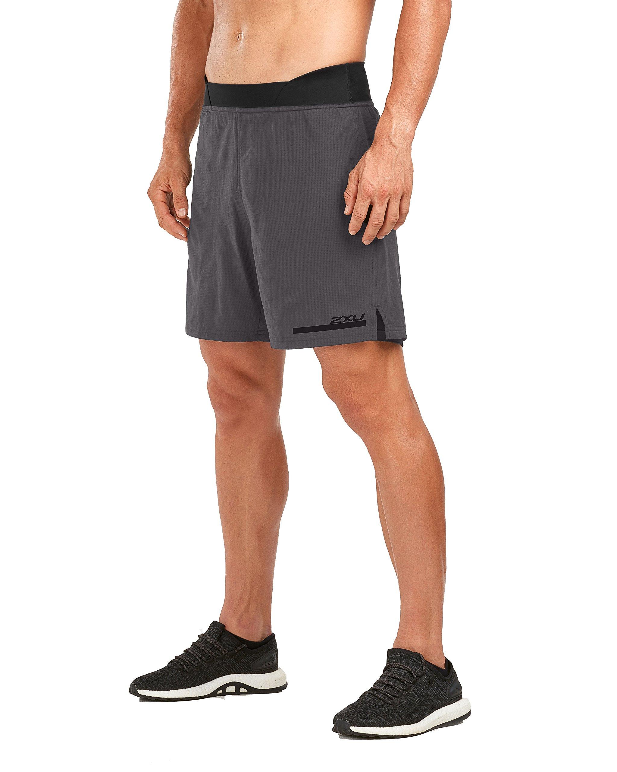 2XU Men's Run 2 in 1 Compression 7 Inch Shorts (Charcoal/Nero, Extra Small)