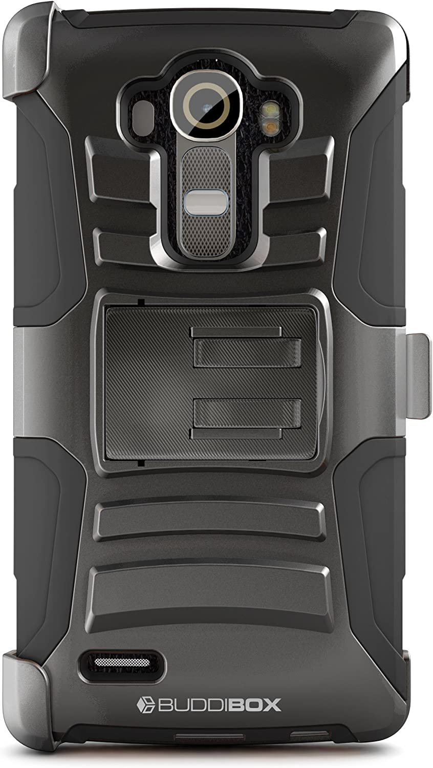 BUDDIBOX LG G4 Case, [HSeries] Heavy Duty Swivel Belt Clip Holster with Kickstand Maximal Protection Case for LG G4, (Black)