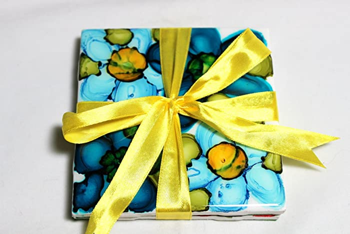 Amazon.com: Flower Garden Ceramic Tile Coasters, Or Decorative Wall ...