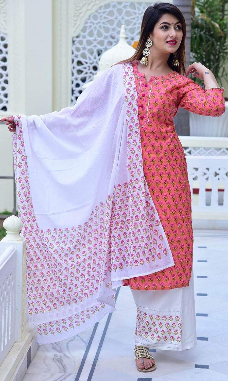 Traditional Jaipur Womens Rayon 3 Piece Set of Printed Kurta with Plazzo with Cotton Dupatta Festive Dress