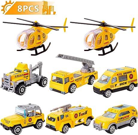 HERSITY 8 Piezas Camiones y Helicoptero de Juguetes Coches