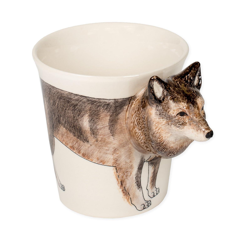 野生動物友人ウルフ8オンスセラミックStonewareハンドペイントコーヒーマグ B06ZY8DMNV