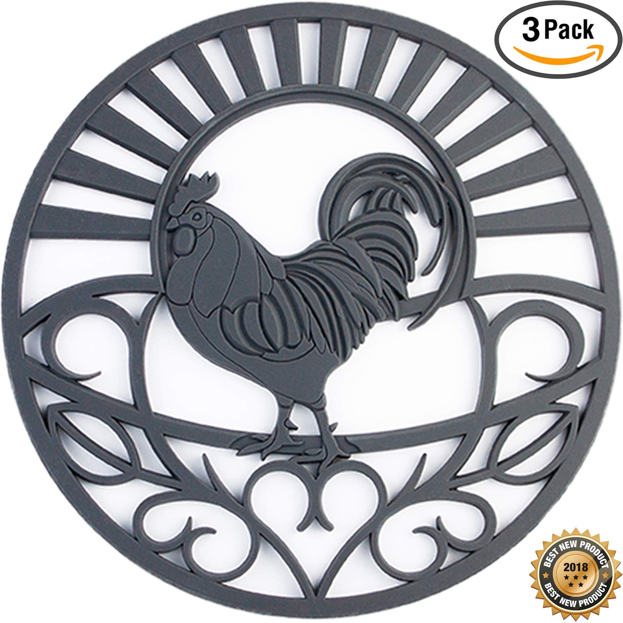 Silicone Trivets Set For Hot Dishes | Modern Kitchen Hot Pads For Pots & Pans | Country Rooster Design (Symbol of Prosperity & Good Luck) Mimics A Cast Iron Trivet | 7.5'' Round, Set of 3, Dark Gray