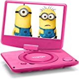 "Voyager 9 inch Swivel Screen Portable DVD Player with Internal Battery and USB Playback (9"" Screen, Pink)"