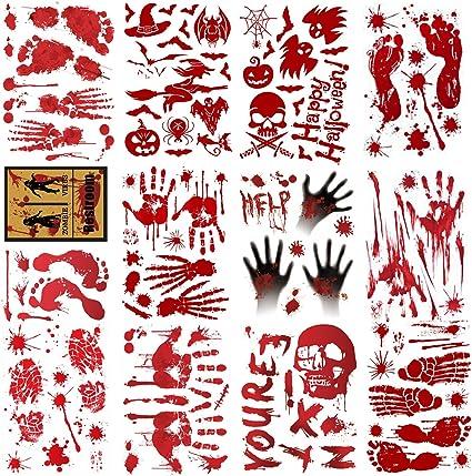 5 Pcs Halloween Bloody Handprint Stickers,Scary Party Decorations Indoor Window Decals Wall Stickers Floor Clings Decor,Handprint Decal Footprints Sticker for Bathroom Office Window Wall Door Floor