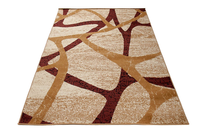 Carpeto Designer Teppich Modern Muster Meliert In Beige - ÖKO Tex (60 x 100 cm)