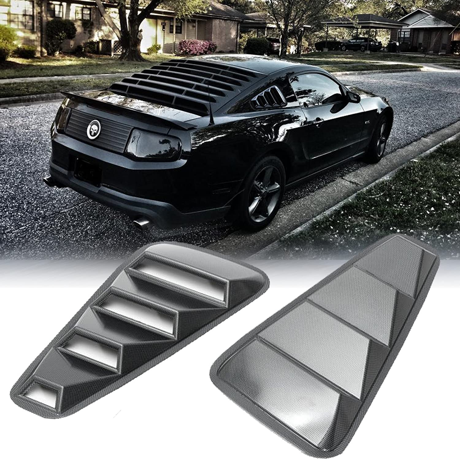 Xotic Tech 2pcs Carbon Fiber Pattern Vents Style Window Quarter Scoop Louver Cover for Ford Mustang 2005-2014
