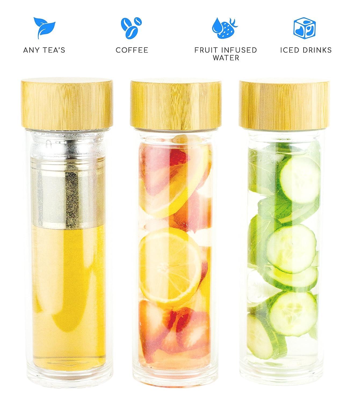 brandfree infusor de té (cristal de doble pared botella w ...