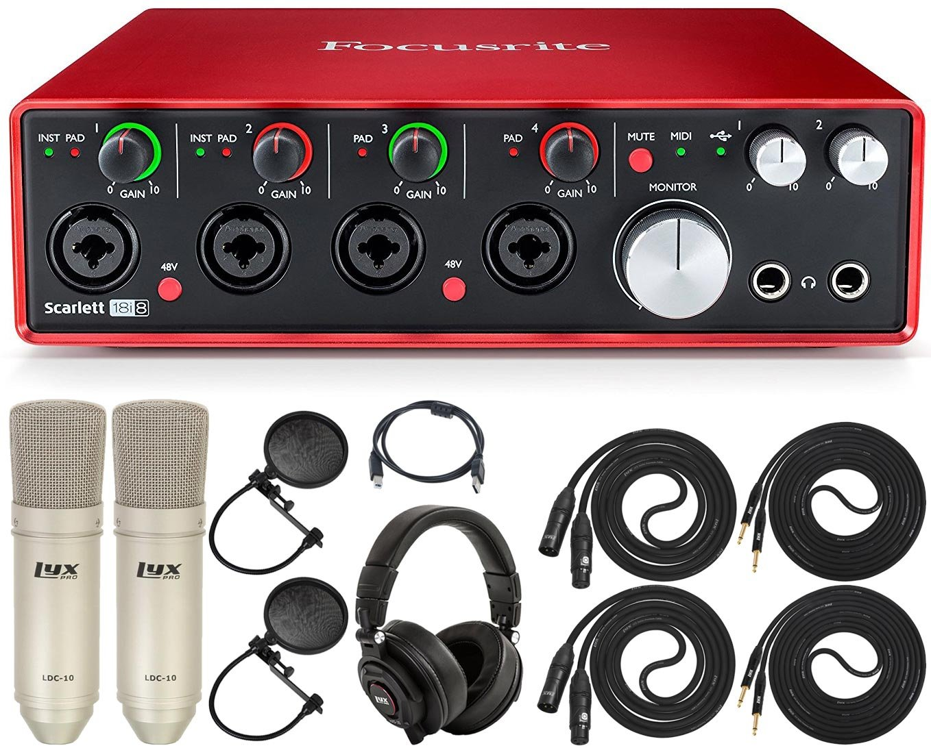 Focusrite Scarlett Solo USB Audio Interface with Pro Tools | First and LyxPro Recording Bundle