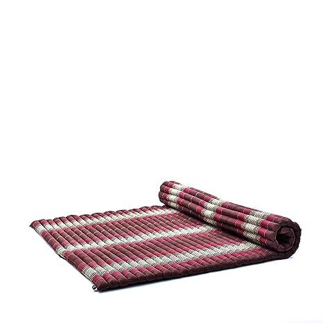 Leewadee Roll-Up Thai Mattress Guest Bed Yoga Floor Mat Thai Massage Pad XXL Queen-Size Eco-Friendly Organic And Natural, 79x59x2 inches, Kapok, brown ...