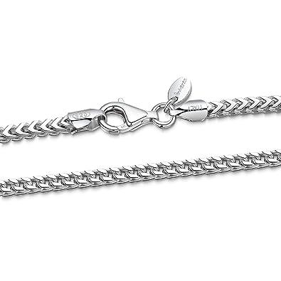 27fae89e0677 Amberta® 925 Plata De Ley Esterlina Collar para Hombre - Cadena De Franco  (Espiga) 2.5 mm - Longitud  50 cm  Amazon.es  Joyería