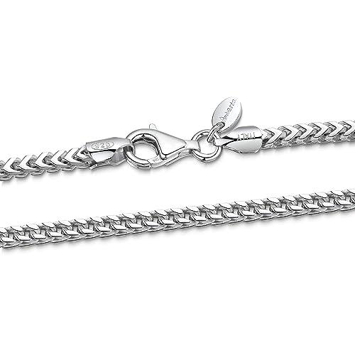 1742cfae23bc Amberta® 925 Plata De Ley Esterlina Collar para Hombre - Cadena De Franco  (Espiga) 2.5 mm - Longitud: 45 50 55 60 70 (cm)