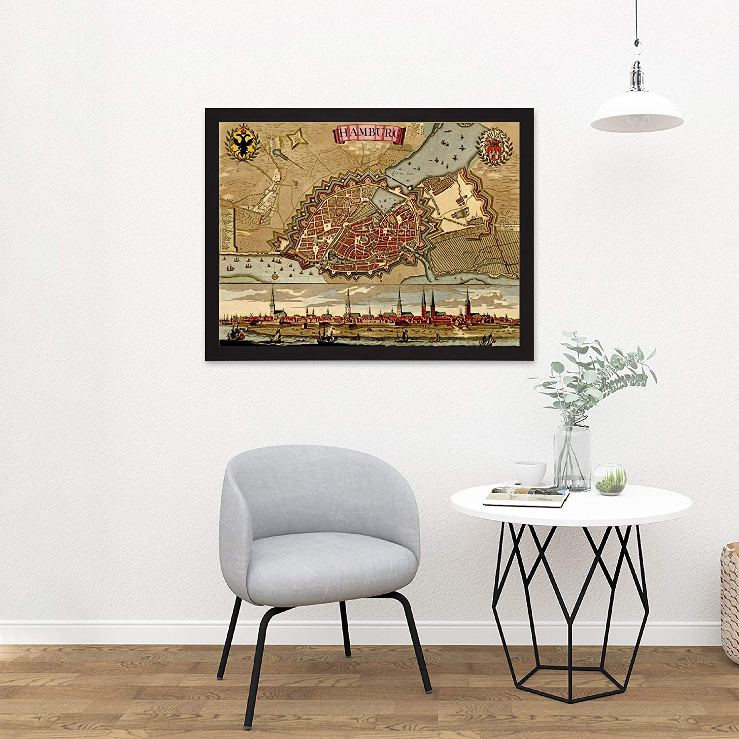 ART PRINT POSTER MAP OLD PLAN CITY HAMBURG GERMANY CITYSCAPE CREST LFMP0839