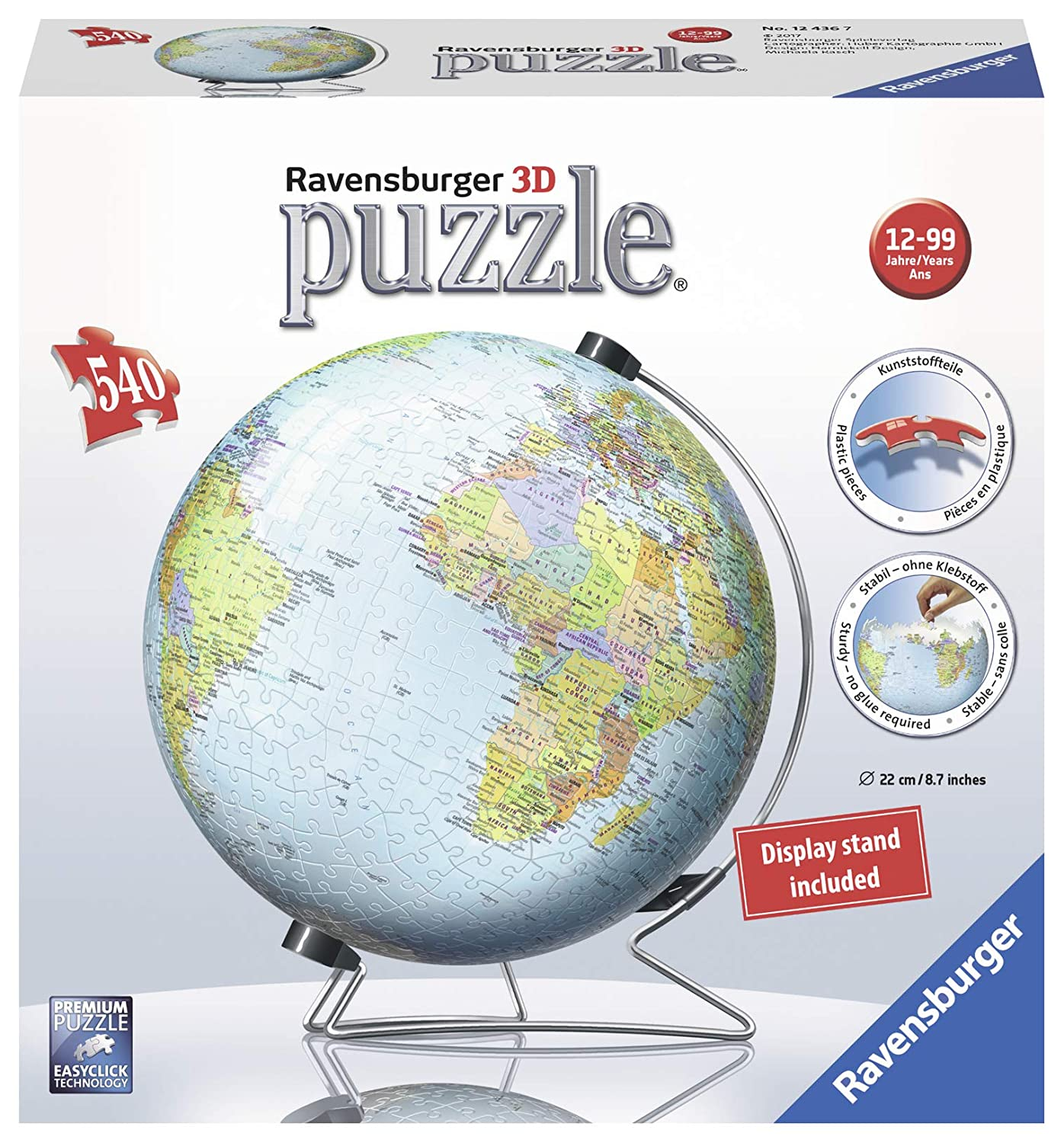 Ravensburger The Earth 540 Piece 3D Jigsaw Puzzle for Kids and Adults - Easy Click Technology Means Pieces Fit Together Perfectly 12436