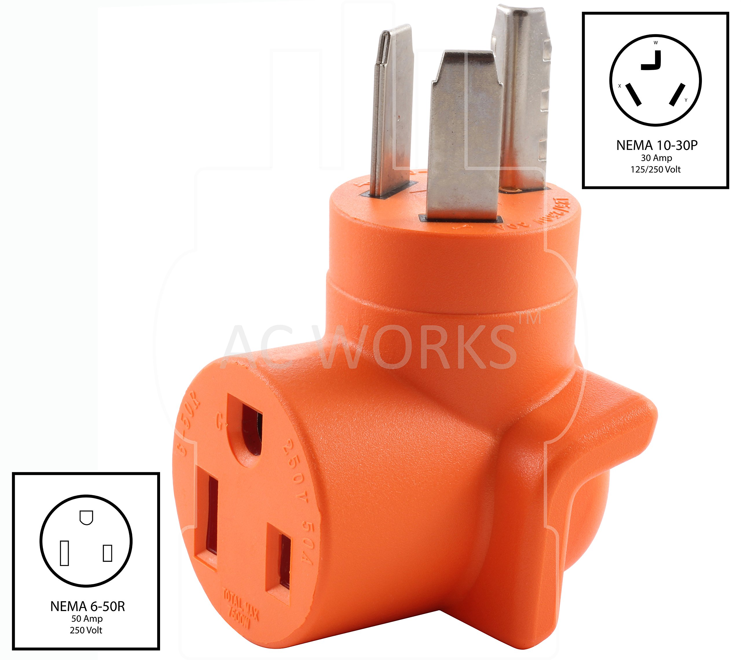 AC WORKS [WD1030650] NEMA 10-30 3-Prong Dryer Plug to 6-50 Welder Adapter by AC WORKS (Image #2)
