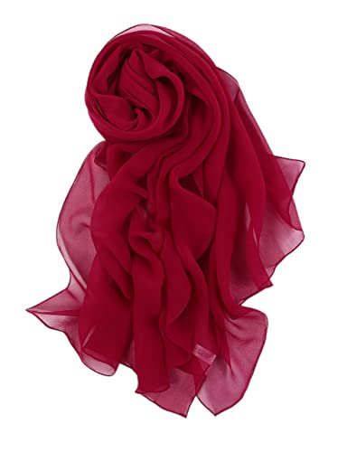 Prettystern - 176CM Elégante écharpe en Soie unicolore - pourpre rouge
