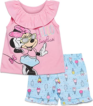 Disney Minnie Mouse Conjunto De Camiseta Y Pantalones Cortos De Sarga Para Ninas Amazon Es Ropa Y Accesorios