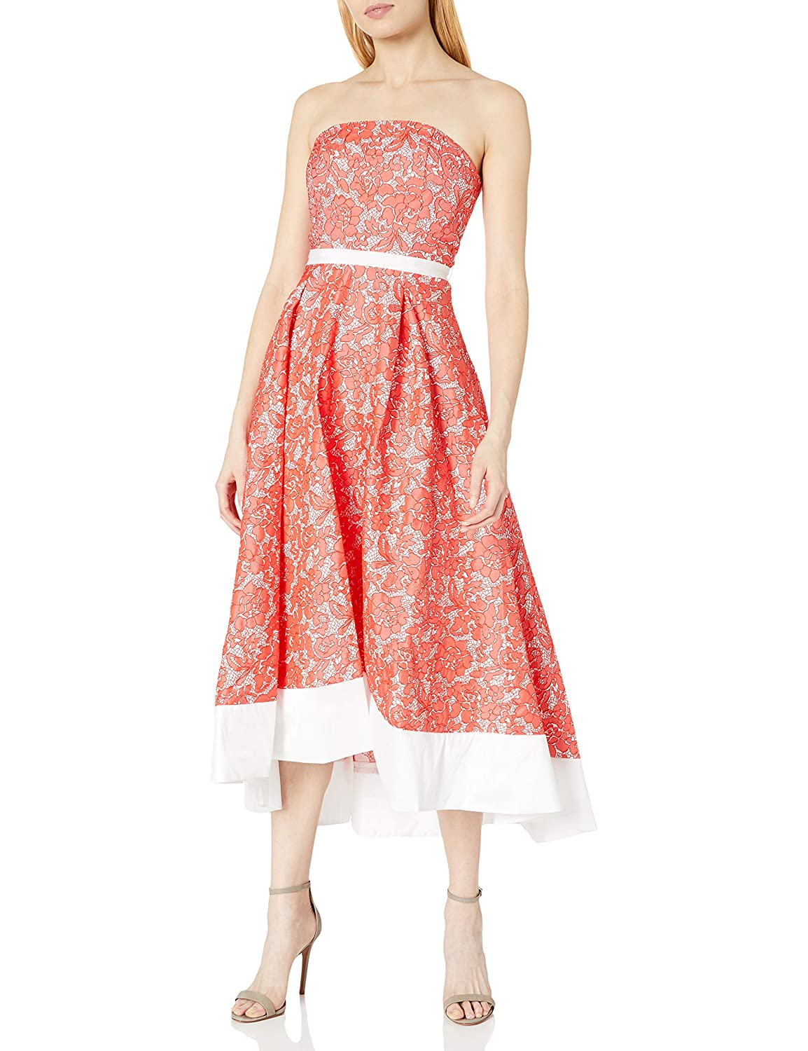 JS Boutique Womens Strapless Lace Brocade W//Hi Lo Solid Contrast Banded Hem