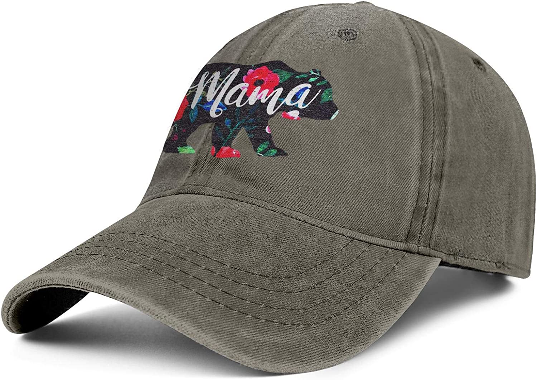 Mama California Bear Floral Unisex Baseball Cap Cooling Sport Baseball Caps Adjustable Trucker Caps Dad-Hat