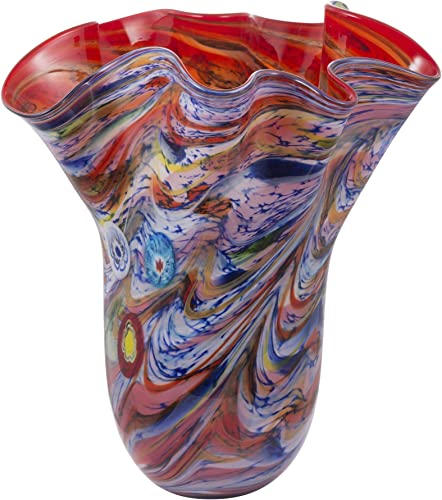 A B Home 16 Svirla Blown-Glass Ripple Vase Vintage Glamour Red