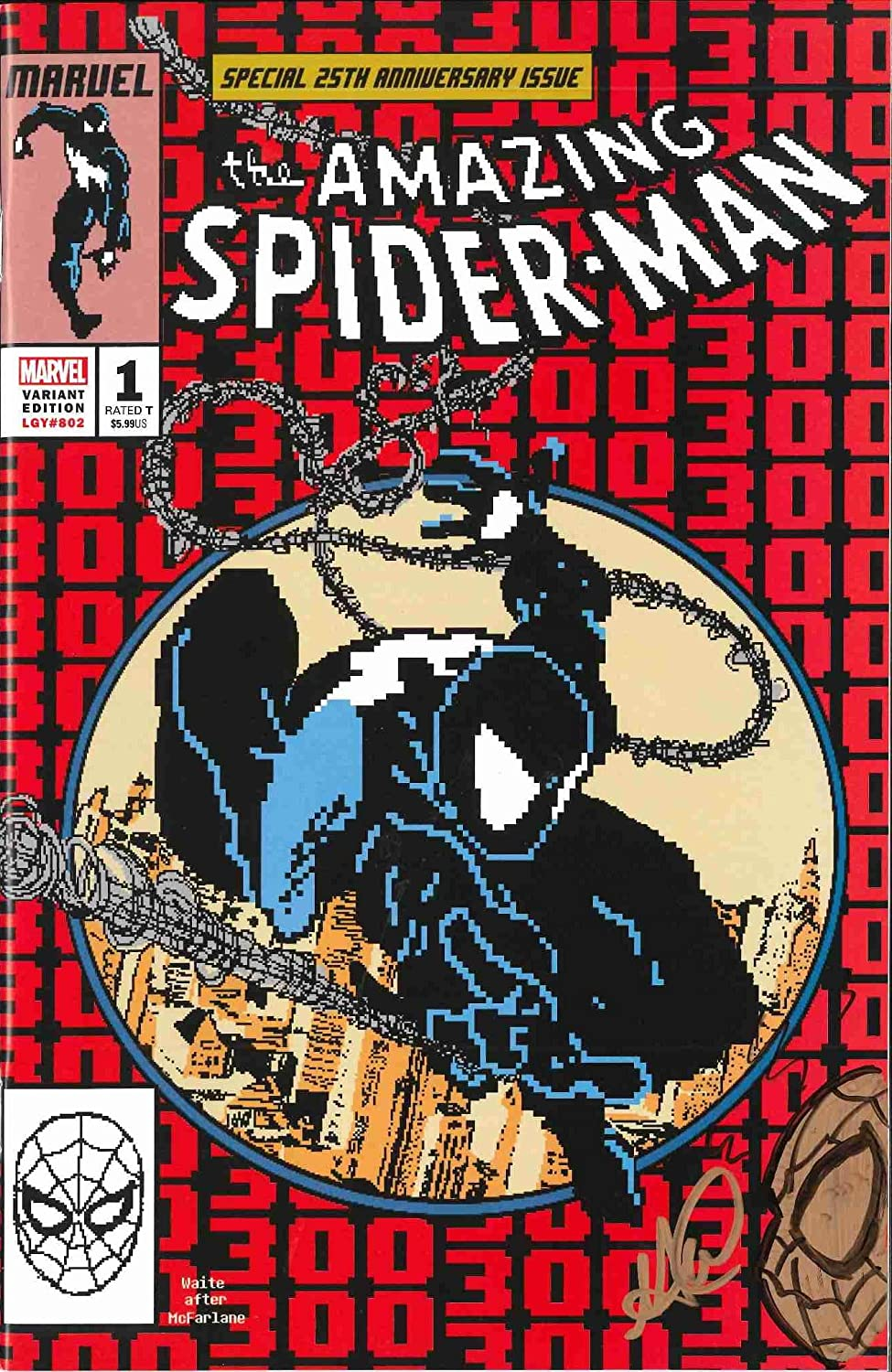 Matthew Waite Signed Amazing Spider-Man #300 Homage 8-bit Cover W/Remark! (The Cowboy House COA)