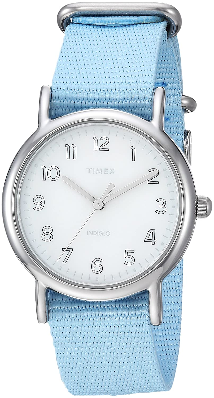 Timex Women 's tw2r80600ウィークエンダー31ブルー/シルバートーンナイロンslip-thruストラップウォッチ  B079HX6388