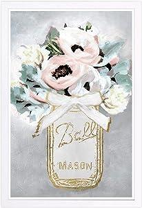 Wynwood Studio Floral and Botanical Framed Wall Art Prints 'Mason Jar Mora' Home Décor, 13