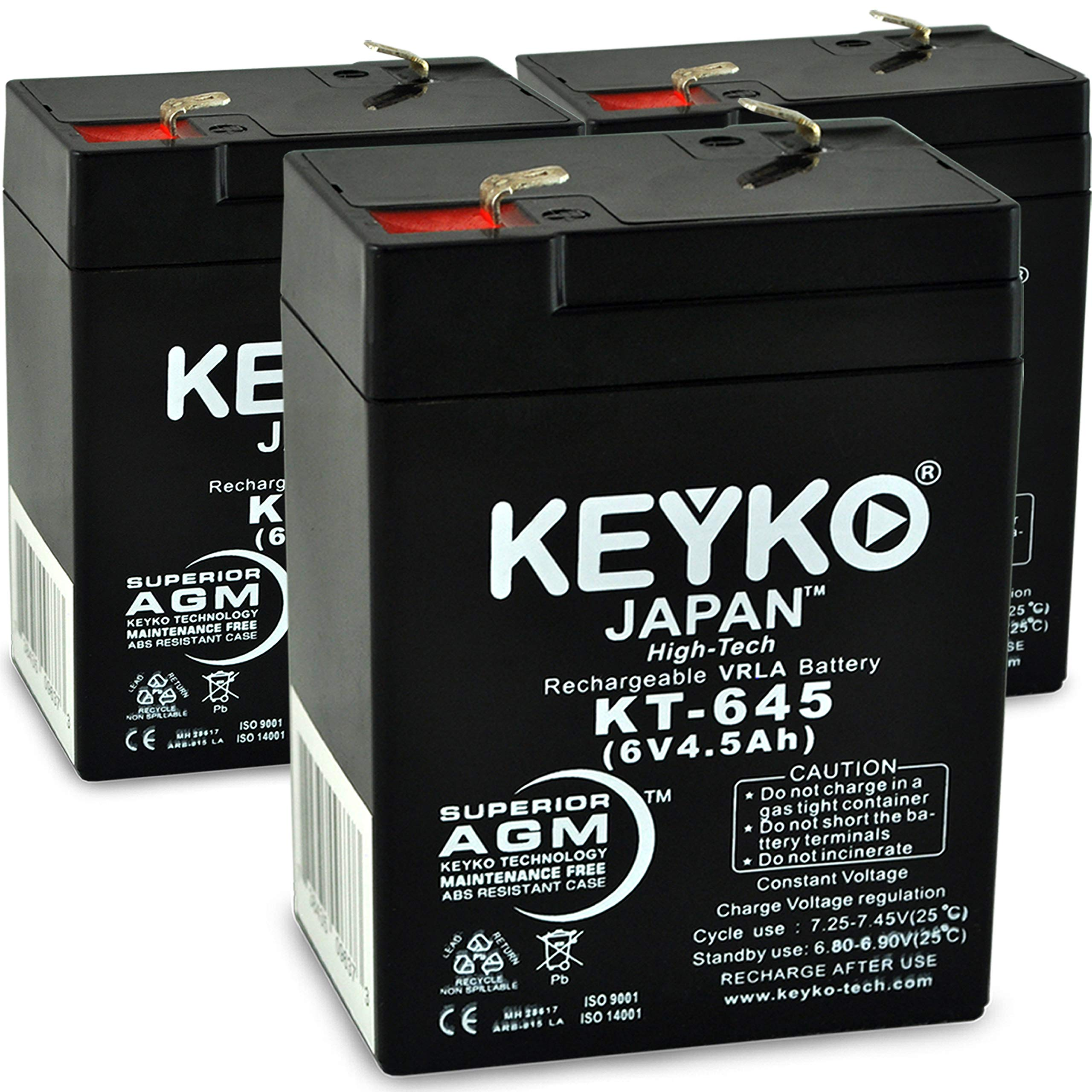 KEYKO Genuine KT-645 6V 4.5Ah Battery - 3 Pack Fresh & REAL 4.5 AMP AGM/SLA Sealed Lead Acid Rechargeable Replacement - F1 Terminal