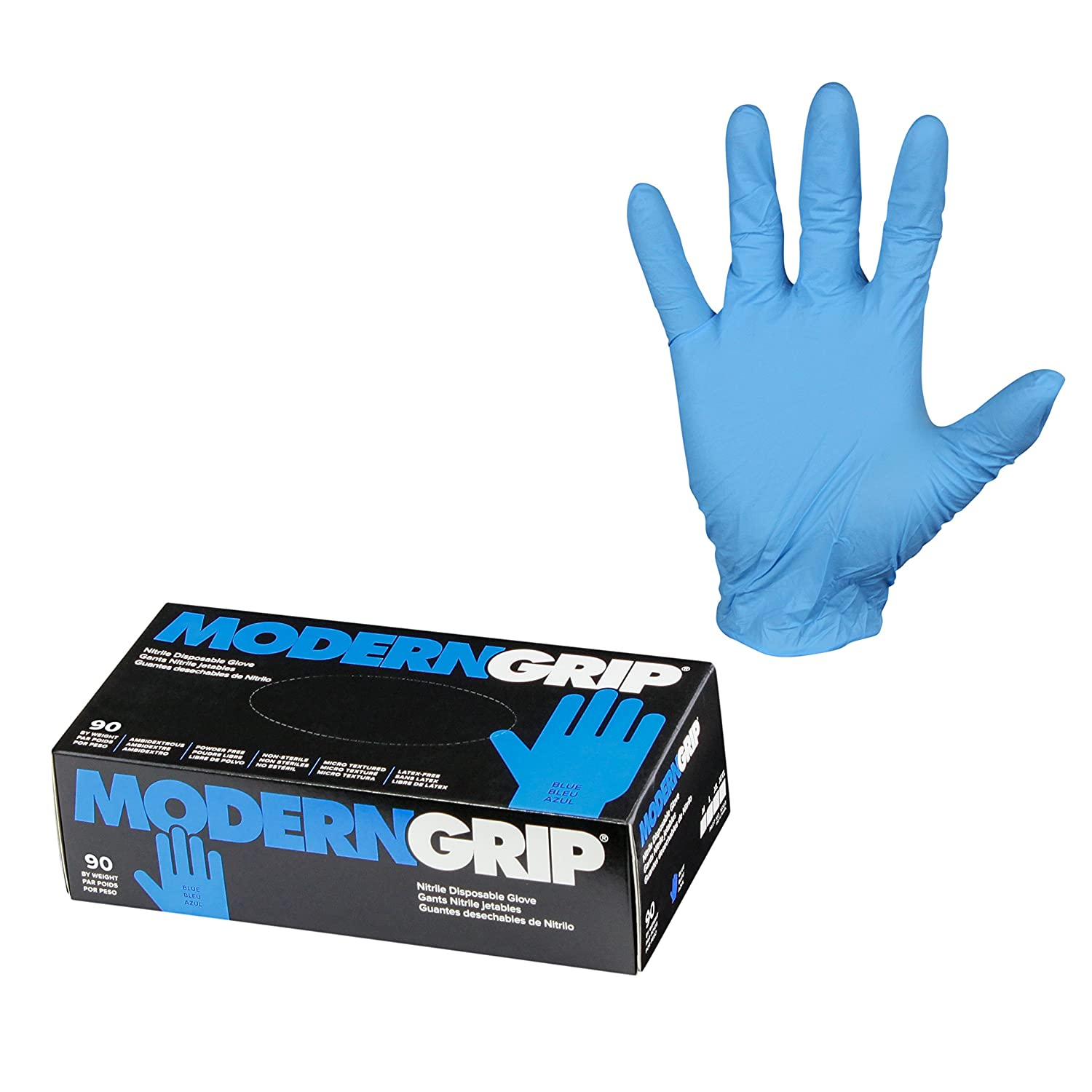 XXL Modern Grip 16103-XXL Nitrile 6 mil Thickness Premium Disposable Gloves Powder Free Micro Textured for Superior Grip Latex Free Blue Industrial and Household 90 count