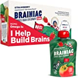 Brainiac Kids Omega-3 Applesauce Pouches, Apple Strawberry, 3.2 Oz (10 Pack) - Supercharge Kids Developing Brains with Omega-