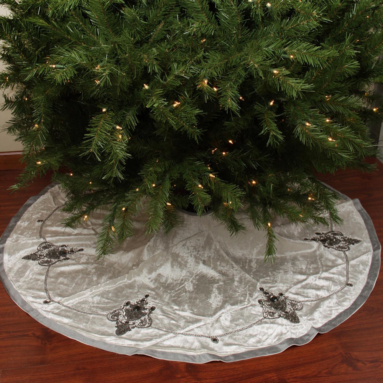 56'' Elegant Cream and Charcoal Gray Beaded and Sequin Velveteen Christmas Tree Skirt