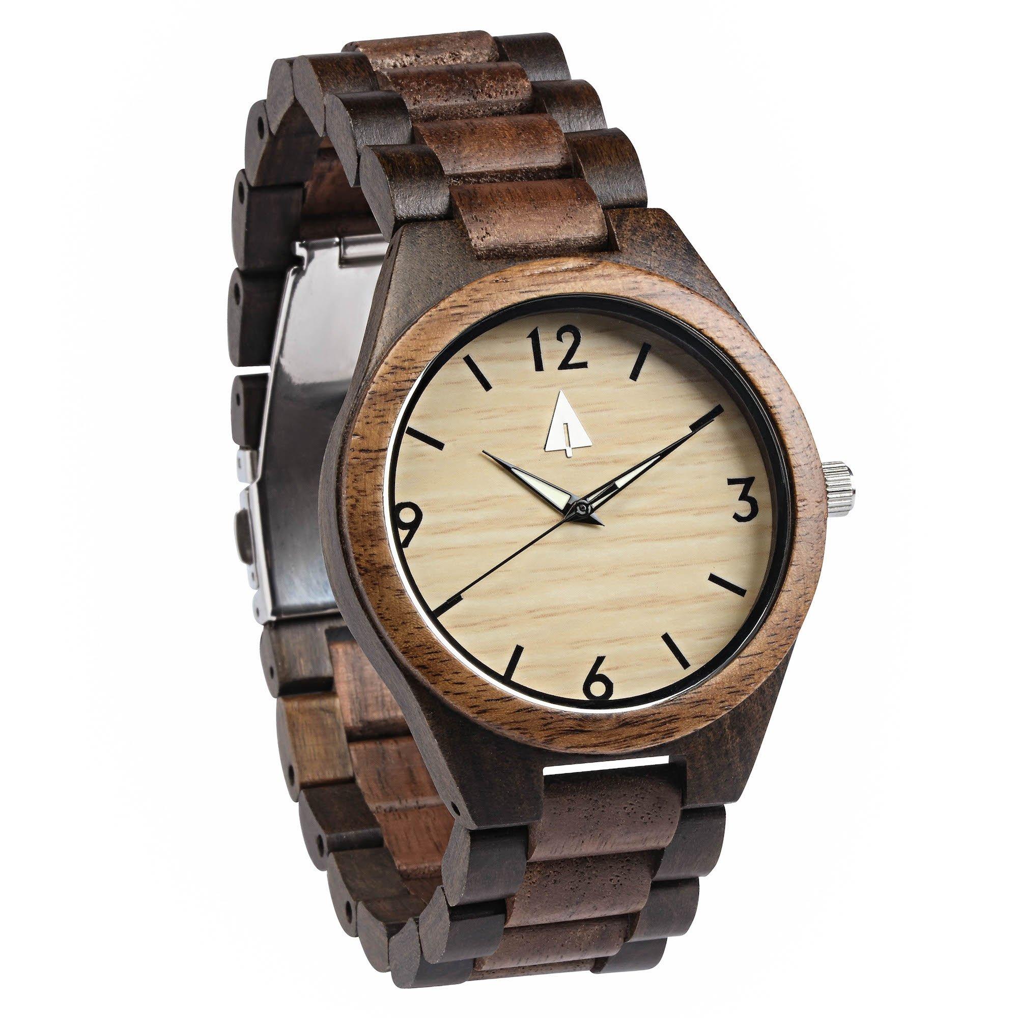 Treehut Men's Walnut and Ebony Wooden Watch with All Wood Strap Quartz Analog...