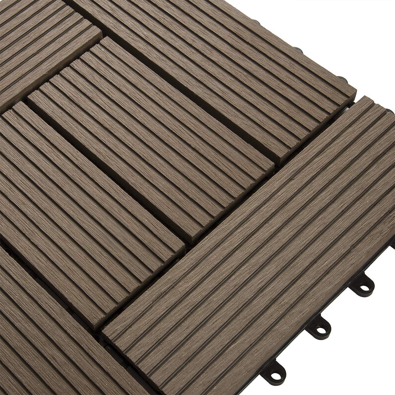 Laneetal Dalle WPC pour recouvrir sol de 1m/² Sol WPC de terrasse balcon 11 pi/èces 30x30cm Rev/êtement ext/érieur Anthracite