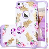 """6/6s Case,iPhone 6 Case Pineapple,Fingic Slim Glossy Phone Cover Romantic Purple Pineapple&Snowflake 2 in 1 Hybrid Case Anti-Scratch Protective Cover Case for iPhone 6 6s 4.7"""",White/Naive Purple"""