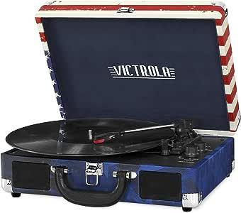Victrola Vintage 3-Speed Bluetooth Suitcase Turntable with Speakers, American Flag
