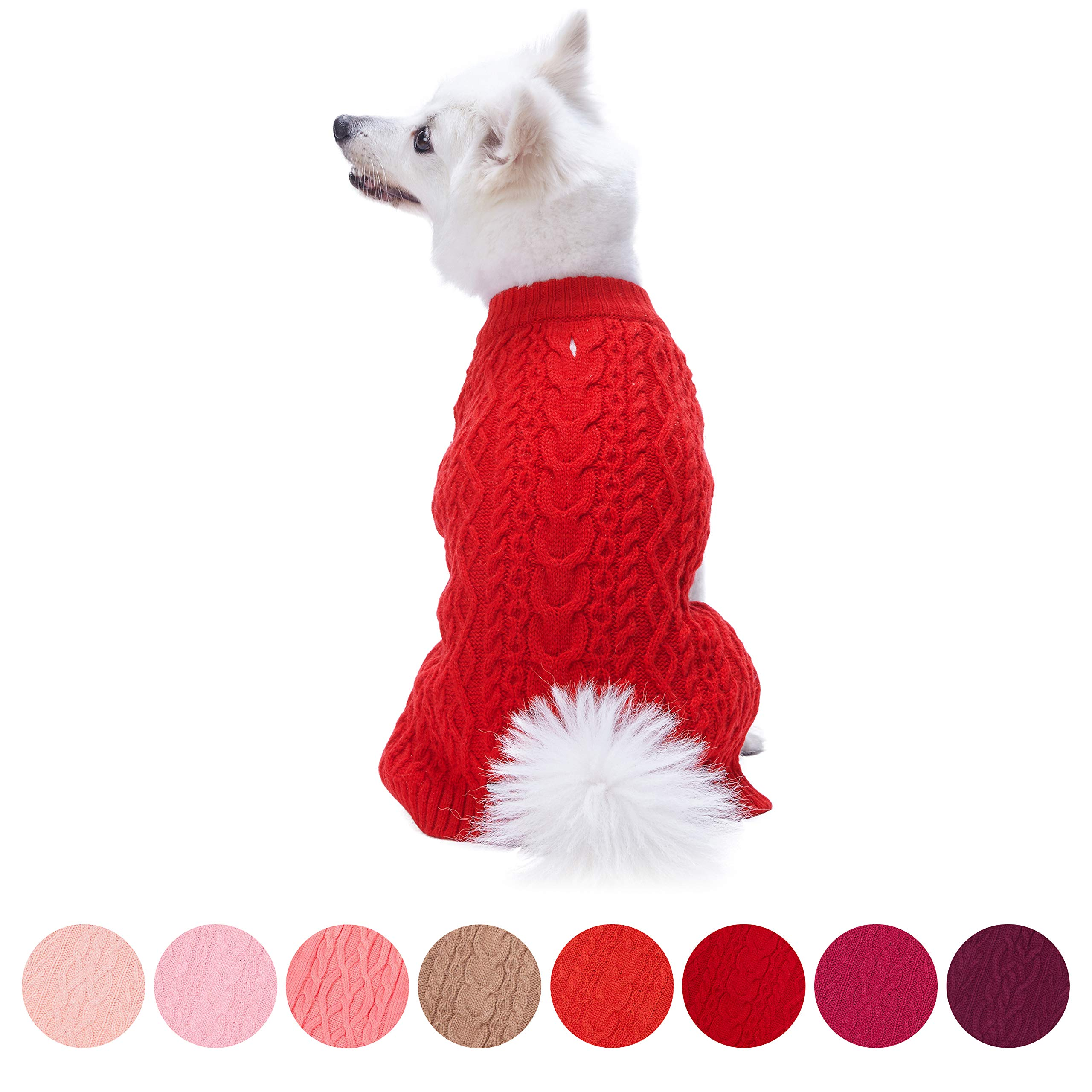 Blueberry Pet 16 Colors Classic Wool Blend Cable Knit Pullover Dog Sweater in Red Danger, Back Length 12'', Pack of 1 Clothes for Dogs