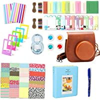Leebotree 10 en 1. Accessoires pour Appareil Photo Instax Mini 9, Mini 8/8+, Le Package Comprend étui,Album, lentille, filtres, Cadres, Stylo et Autres (Marron)