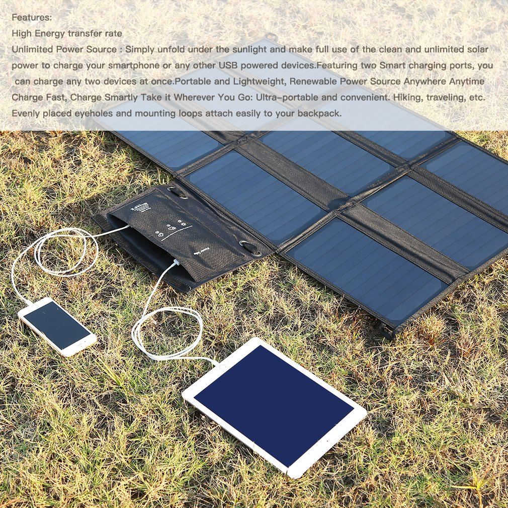 LESHP Highest Efficient Solar Charger 60W Foldable Sunpower Solar Panel Charger Dual Output (5V USB + 18V DC) For StorageBattery, iPhone, iPad, Android Smart Phone by LESHP (Image #2)