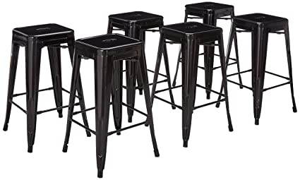 Amazoncom Belleze 26 Inch Metal Counter Vintage Bar Stools Set Of