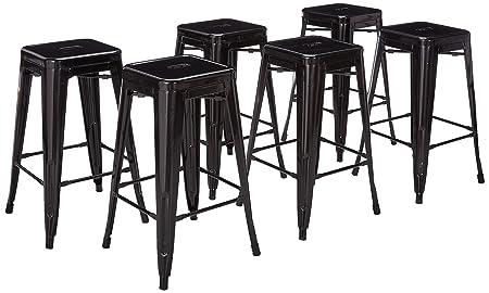 Belleze 26-inch Metal Counter Vintage Bar Stools Set of 6 , Black