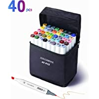 40 Colors Art Marker Pen Set Permanent Dual Tips Marker Pens Alcohol Drawing Markers With Zipper Carrying Bag Ideal for Kids and Adults Sketching Highlighting & Underlining (White Shell)